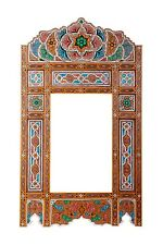 Moroccan farmhouse Wood color hanging mirror frame, decor of wood, hand-painted