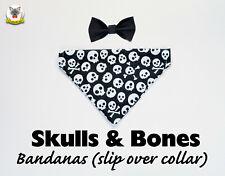 Bandana 'Skulls' (slip over collar), cat / dog bandana, Halloween costume pet