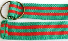 """Red Green Stripes Double D-Ring Canvas Belt 28"""" waistband strap band buckle"""