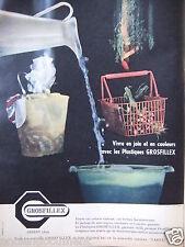 PUBLICITÉ 1958 PLASTIQUES GROSFILLEX VIVRE EN JOIE ET EN COULEURS - ADVERTISING
