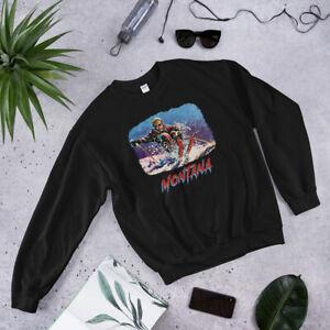 Montana, Big Sky Bozeman Skiing Shirt, Ski, Vintage Retro Sweatshirt
