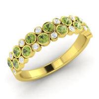 0.91 Ct Peridot Natural Diamond Engagement Ring Round 14K White Gold Size K L M