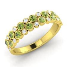 0.91 Ct Peridot Natural Diamond Engagement Ring Round 14K White Gold Size M N O