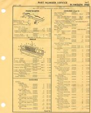 1963 Plymouth Fury Belvedere crash sheets with part numbers