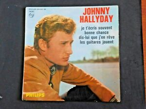Autographe ORIGINAL johnny hallyday Pochette EP 45T 434862BE OFFENBURG 43E RIMA