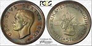 1952 SOUTH AFRICA 5 SHILLINGS PCGS AU58 MULTI COLOR TONED COIN IN HIGH GRADE