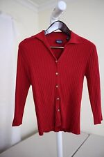 Hillard & Hanson Rayon Blend Red Button Down 3/4 Sleeve Cardigan Sweater Size -S