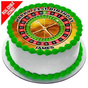 Roulette Wheel Edible Icing Image Personalised Party Cake Decoration Topper