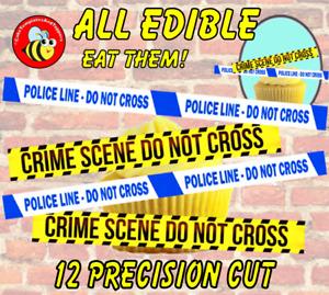12 EDIBLE CRIME SCENE / POLICE LINE TAPE Cake Toppers, Wafer Paper,~ PRE-CUT ~