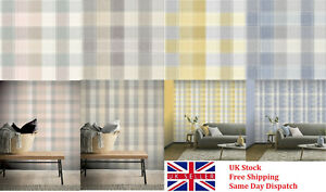 Arthouse Country Check Tartan Wallpaper in Denim, Ochre, Grey and Pink/Grey