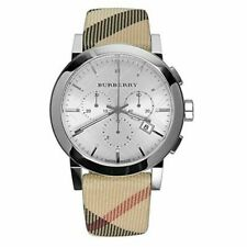 From NY! BURBERRY Men's Swiss BU9357 Leather Strap Nova Check Chronograph Watch