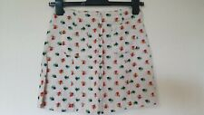 Topshop Linen Mix Ditsy Floral Button Down Skirt Size 6