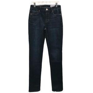 White House Black Market Womens Sz 00 Jeans Dark Wash High Rise Slim Stretch