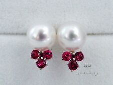 HS South Sea Cultured Pearl 10mm & Ruby .84ctw 14K White Gold Stud Earrings AAA