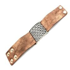 Brown Faux Leather Square Pave Crystal Studs Button Strap Gold Tone Bracelet