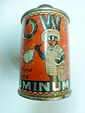 """Vintage early 1900s """" Wow """" Aluminum Polish Can Black Americana Cone Top ! ! !"""