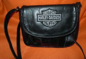Black purse with Harley Davidson Patch on front unbranded crossbody organizer