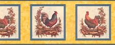 """ROOSTERS-FRAMED-YELLOW BORDER-10""""HIGH-$9.00 PER ROLL-FREE S&H"""