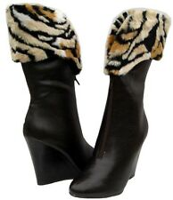 Women's winter Snow BOOTS Wedge Fashion BROWN FUR shoes size  8