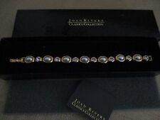 "Joan Rivers 7"" Tennis Bracelet Gold Tone Pearl & Clear Rhinestones New With Box"