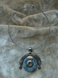 South American Peru/Inca? Silver Choker with Detail. Pendant About 2.5in Wide.