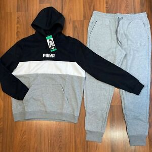 Puma Men's Hoodie Pants 2pc Set Size M, L, XL Tracksuit Black / Gray New