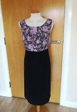 Ladies ROMAN Dress Size 16 Black Lavender Wiggle Pencil