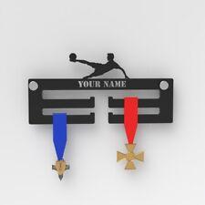 Football Personalised Medal Display Hanger / Black Acrylic Medal Hanger Football