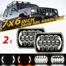 "Pair 7x6"" 5x7"" 200W LED Headlight DRL Turn Signal for Jeep Cherokee XJ Chevy Van"