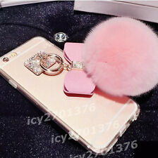 NEW Bling Crystal Rabbit Fur Hair Ball Tassel soft TPU Back Case Cover Skin #A