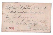 Rare 1879 ATCHISON TOPEKA & SANTA FE RAILROAD PASS RR US Train antique Converse