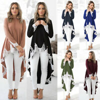 Womens Long Sleeve Baggy Asymmetric Lace Long Tops Blouse Ladies Shirts Dress HU