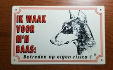 "Vintage ""Beware of dobermann"" sign, in Dutch"