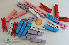25 PINCES A LINGE BOIS 35x7mm mix 5x5 couleurs pastels  DIY Déco loisirs