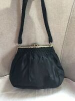 Vintage Pengaligon's London Black Satin Kiss Lock Frame Clutch Handbag