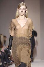 MARNI Dark Gold Silk Black Lace Print 2 Piece Dress 40 4