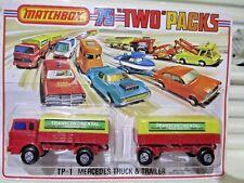 Lesney Matchbox 1976 TP1 MERCEDES TRANSCONTINENTAL Truck Trailer 2 Pack Nu inPkg