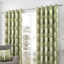 """Fusion Woodland Trees Lined Eyelet Curtains 90 X 90"""" - Green"""