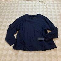 Rachel Rachel Roy Womens Moana Sweatshirt Navy Blue Mixed Media Knit Plus 1X Nwt