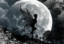 Framed Print - Fairy Flying in the Moonlight (Picture Fantasy Mythical Art)