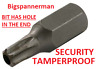 T30 TORX BIT - TAMPERPROOF  - SECURITY - 6 Point Socket 10mm Hex Drive 30mm long