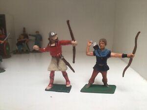 Saxon Archer warriors. Cherilea recast plastic toy Soldiers 60 mm