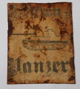 GERMANY Sign WW2 Attention tank WWII Wechrmacht GERMAN Achtung Panzer! STOP Plat