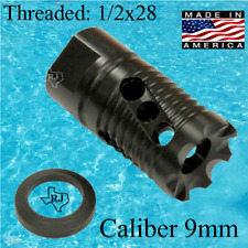 1/2x28 9mm XB Muzzle Brake Comp Premium Performance Compact Nitride+crush washer