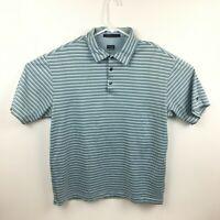 Nike Dri Fit Tiger Woods Golf Polo Striped Blue Short Sleeve Men's Size Medium