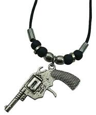 PISTOL GUN 18 INCH ROPE CORD NECKLACE WITH BEADS pendant JL-571 2ND AMENDMENT