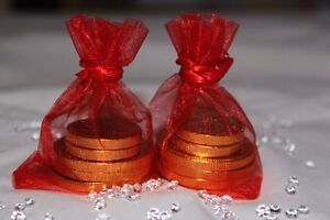 10 x RED ORGANZA BAGS WEDDING TABLE DECORATION 7cm x 9cm UK SELLER