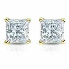 14k Yellow Gold Square Princess Cut Solitaire Diamond Earrings 1/4 Ct