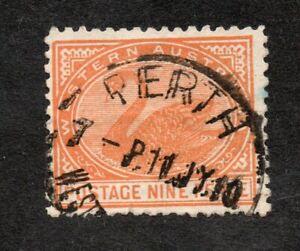 Western Australia -  1905-12 Nine Pence, Red-Orange. Crown A wmk. P12½ SG145a