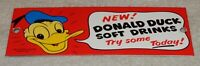 "VINTAGE DONALD DUCK SOFT DRINKS 8"" PORCELAIN METAL SODA POP GAS WALT DISNEY SIGN"